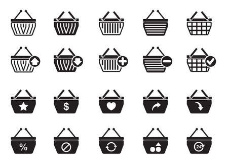 twenty four hour: collection of basket icons