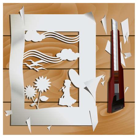 cutout: paper cutout of scenery