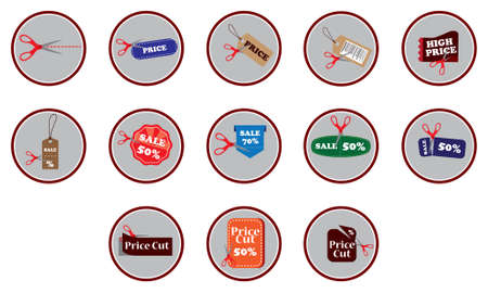 price cutting: set of discount tag concepts