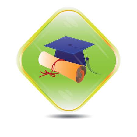 mortar board: mortar board with certificate button