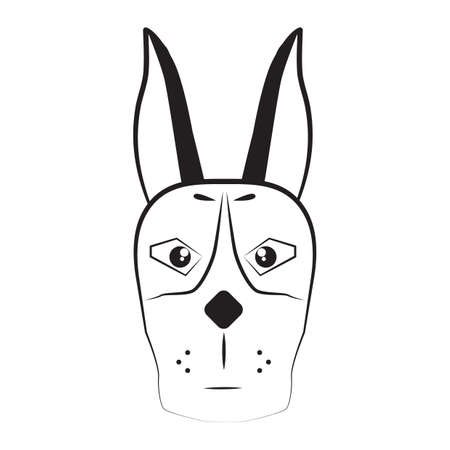 animal den: dog head Illustration