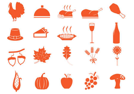 grapes and mushrooms: set of thanksgiving icons Illustration