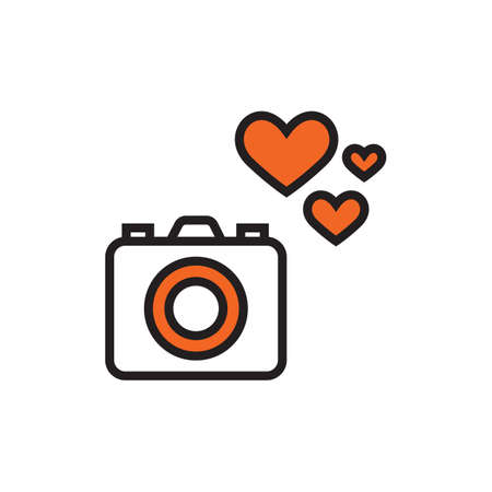 love icon: camera icon with heart