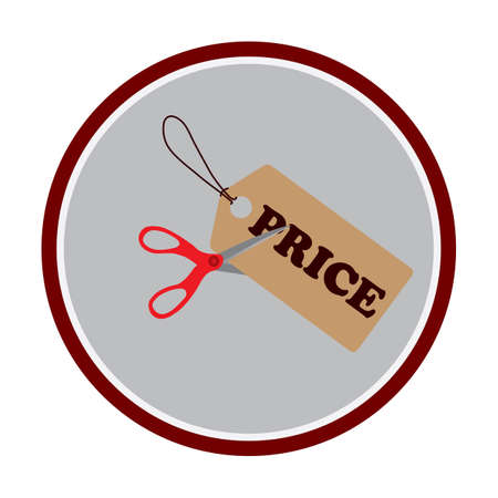 pair of scissors: a pair of scissors cutting a price tag Illustration