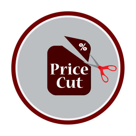 price cutting: a pair of scissors cutting a price tag Illustration