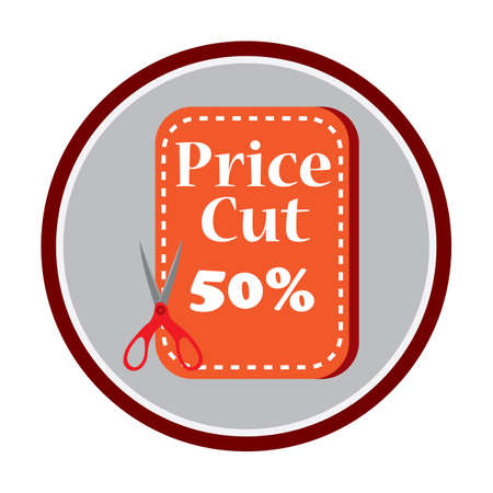 pair of scissors: a pair of scissors cutting a discount tag Illustration
