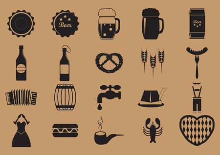 lederhosen: set of oktoberfest icons Illustration
