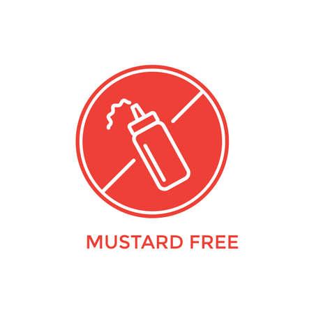 mustard: mustard free label Illustration