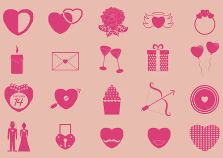 angel roses: set of valentines icons