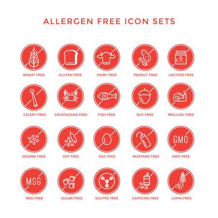 allergen: allergen free icon set