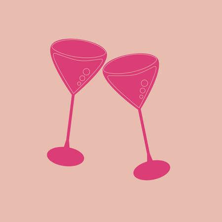 toasting wine: toasting of two wine glasses Illustration