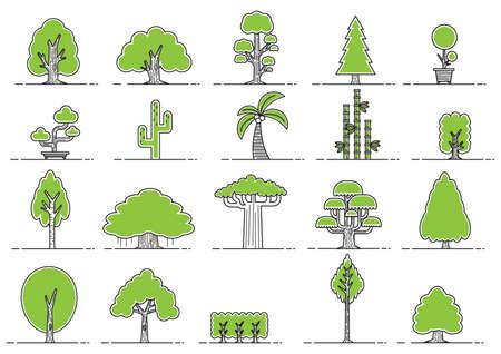 Collection d'icônes différentes d'arbres Banque d'images - 53813692