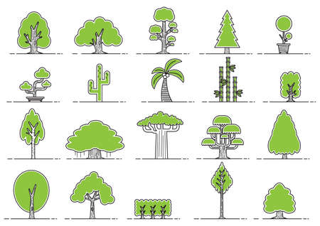 baobab tree: collection of various tree icons