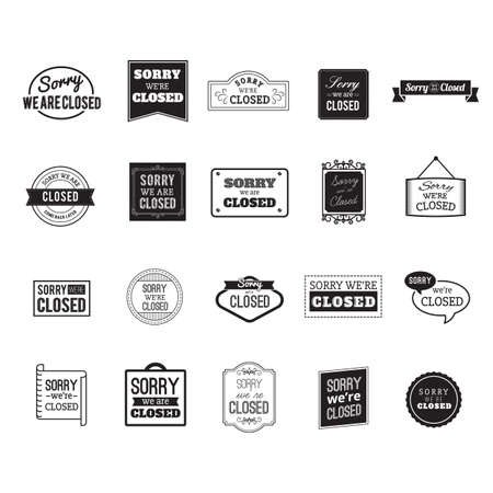 closed ribbon: set of sorry we are close labels