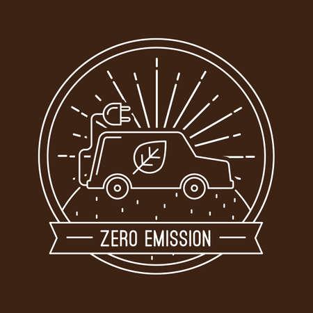zero emission: zero emission label Illustration