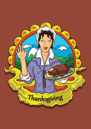 pilgrim costume: thanksgiving Illustration