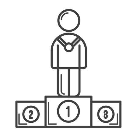 winner podium: player standing on winner podium Illustration