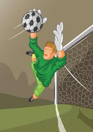 portero de futbol: portero de f�tbol en la acci�n