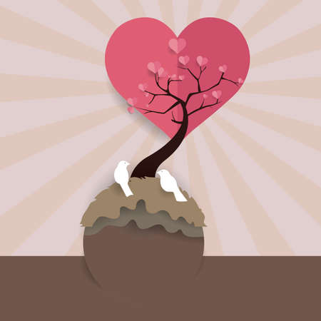 tree with birds: love birds on a heart tree