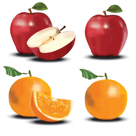 sliced apple: sliced apple and orange