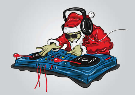 santa claus as a dj mixer 向量圖像