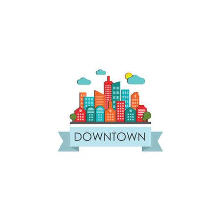 built structure: downtown label Illustration
