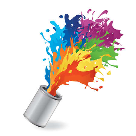 paint can: bucket with paint splash