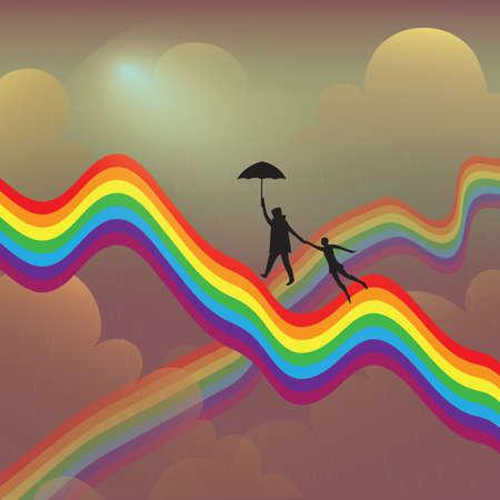 rainbow umbrella: two persons flying on rainbow Illustration