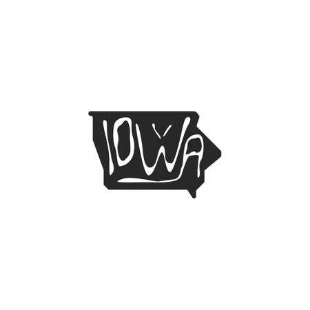iowa: iowa state map Illustration