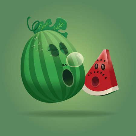 yawning: cute cartoon watermelon Illustration