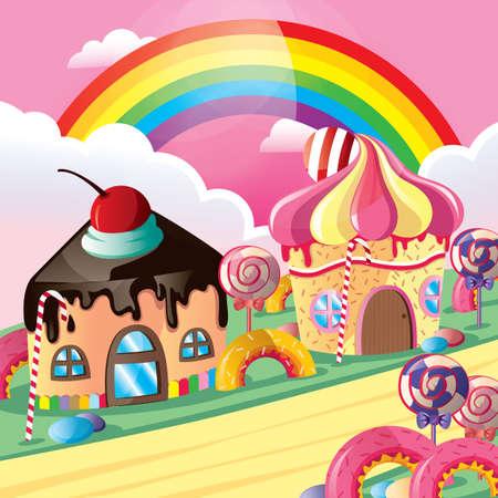 maisons imaginaire de petit gâteau