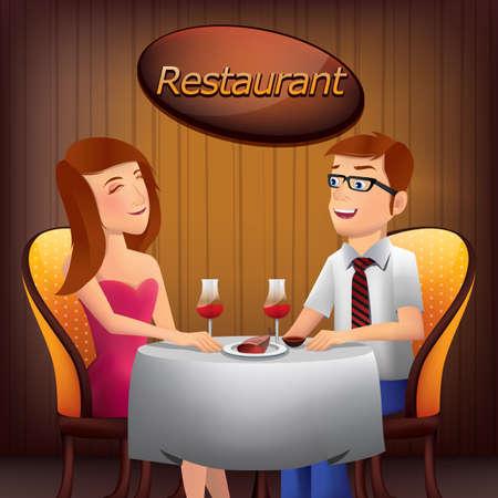 Pareja sentada en la mesa en el restaurante Foto de archivo - 53822433
