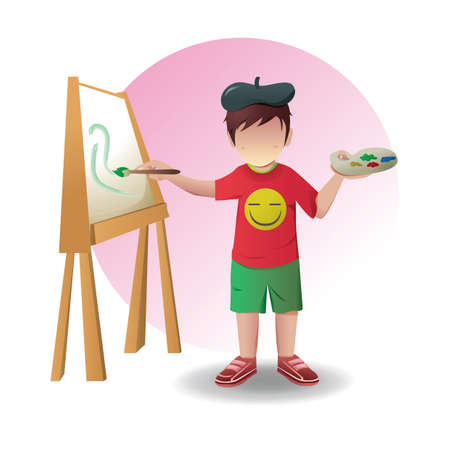 artist's canvas: boy painting on canvas