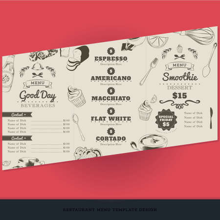 cortado: coffee menu template design