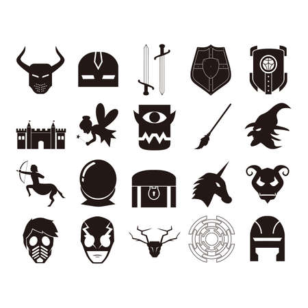 one eyed: set of fantasy icons