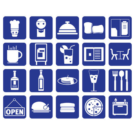 open sandwich: restaurant icon set
