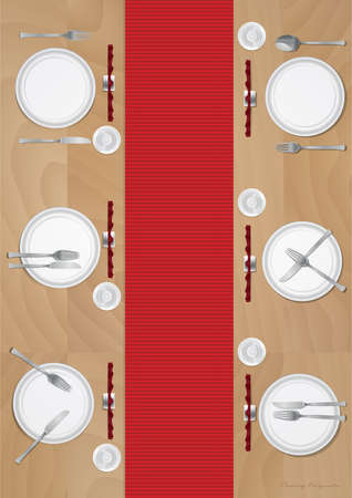 on the table: dining table Illustration