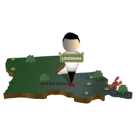 baton rouge: louisiana state map Illustration
