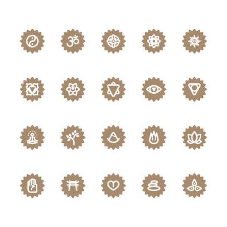 tree symbol: assorted yoga and zen icon set