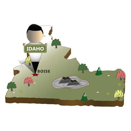 idaho: idaho state map Illustration