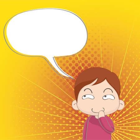 contemplate: boy thinking Illustration