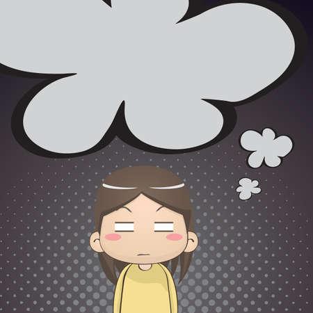 irritated: annoyed girl thinking