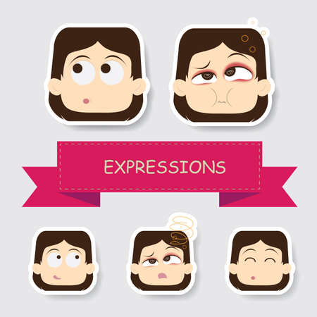 blushing: girl with different expression Illustration