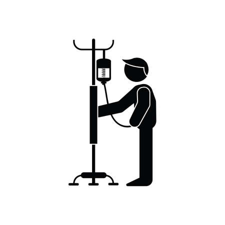 iv drip: man standing with iv drip Illustration