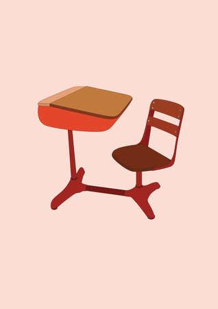 school desk: school desk and chair Illustration