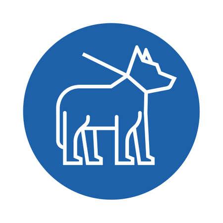 round collar: dog on leash