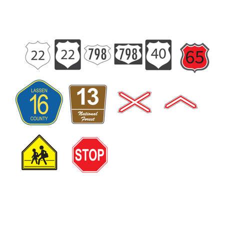 cross road: european traffic icons