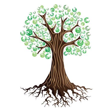 손을 인쇄 나무 일러스트