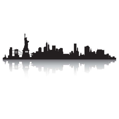 new york skyline silhouette Illustration