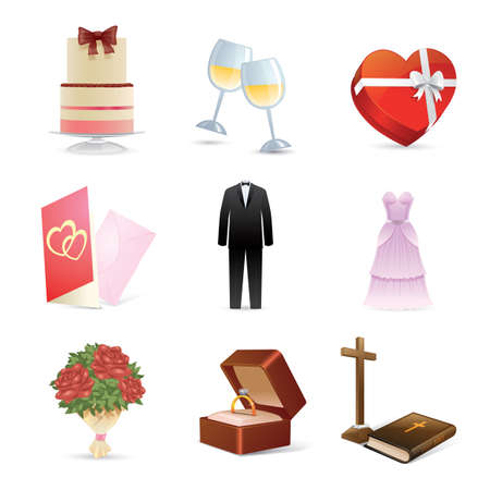 toasting wine: set of wedding icons Illustration